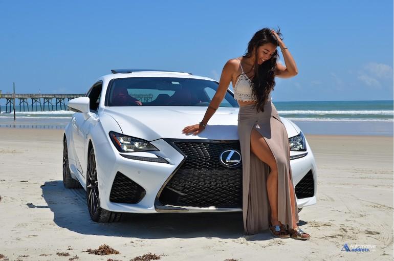 X-Factor winner Sierra Deaton poses with the Lexus RC F at Daytona Beach. Florida