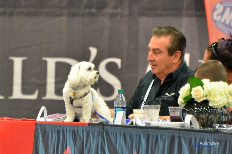 Even adorable puppies get in on the bidding.