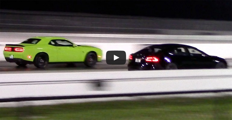 The Rematch: Dodge Challenger SRT Hellcat Sets Drag Race Against Tesla Model S P85D, Again – Video