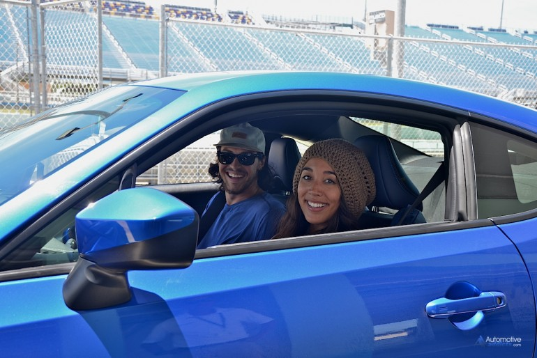 Sierra gets ready to treat Alex to a spirited trek around Homestead-Miami Raceway in the standard transmission equipped Series.Blue.Edition BRZ.
