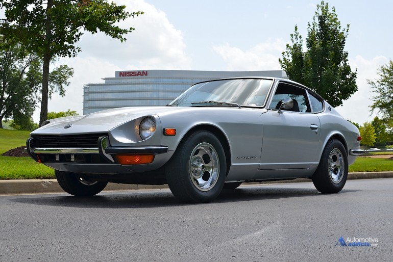 The timeless 1972 Datsun 240z stands proudly in front of Nissan North America.