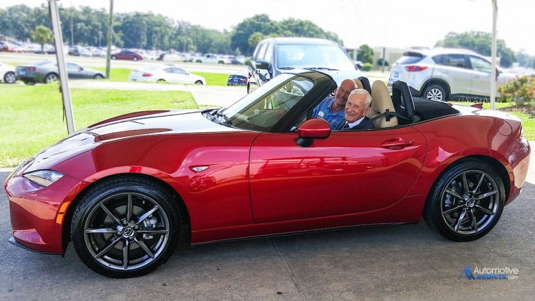 Mazda's all-new Roadster Lands in the Driveway of 96-year-old Navy Veteran Pilot