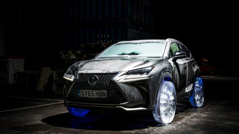 Lexus On Ice: NX Crossover fitted with Wheels and Tires made of Ice- Videos