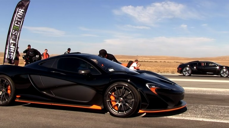 Bugatti Veyron versus McLaren P1: Drag Race Video