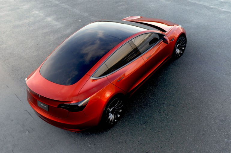 Tesla-Model-3-rear-view-above-in-red