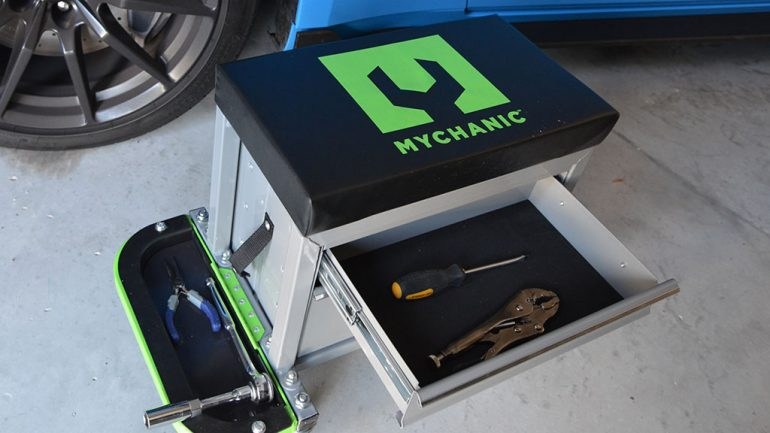 MYCHANIC 2-Ton Jack, Tool Creeper, Sidekick Stool, and LED Lighting Tools help us Work Smarter, Not Harder