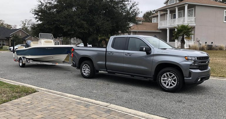 2019 chevrolet silverado rst towing boat